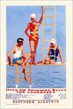 Print på træ  Open Air Swimming Baths for Londoners - English School