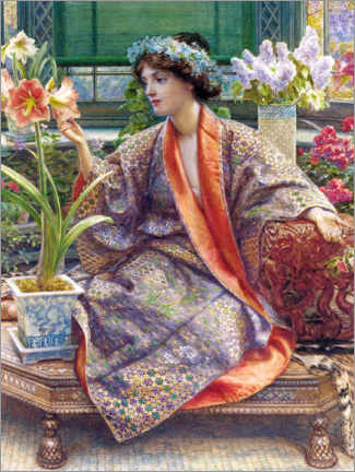 Lærredsbillede  In the greenhouse - Sir Edward John Poynter