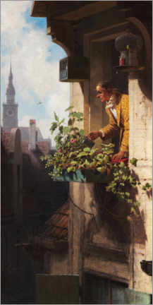 Akrylbillede  Man Watering the Window Box - Carl Spitzweg