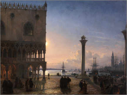 Print på skumplade  Piazza San Marco by moonlight - Friedrich Nerly