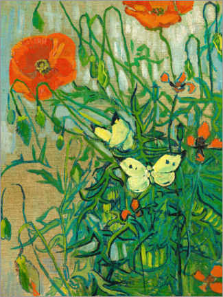 Print på træ  Butterflies and poppies - Vincent van Gogh