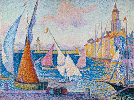 Selvklæbende plakat  Sailing boats in the harbour of Saint Tropez - Paul Signac