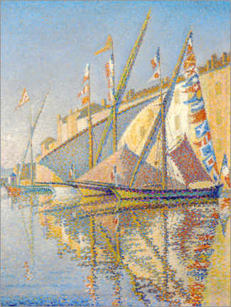 Lærredsbillede  Sailing boats at the port of Saint Tropez - Paul Signac