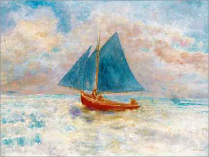 Print på træ  Red boat with blue sails - Odilon Redon