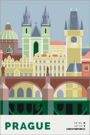 Premium-plakat prague skyline