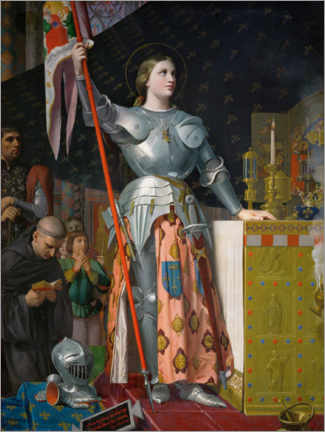 Selvklæbende plakat  Jeanne D'Arc at the coronation of Charles VII. - Jean Auguste Dominique Ingres