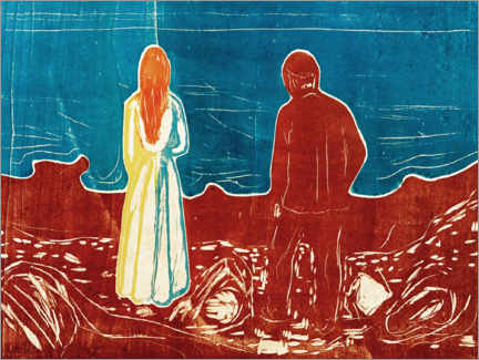 Print på aluminium  Two People (The Lonely Ones) - Edvard Munch