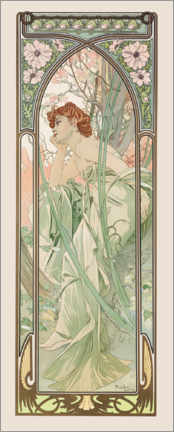 Print på træ  Times of the Day - Evening Contemplation - Alfons Mucha