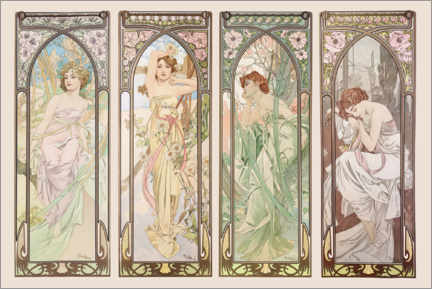 Akrylbillede  Times of the day - Alfons Mucha