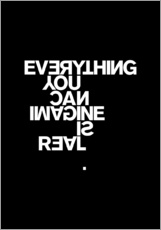 Selvklæbende plakat  Everything you can imagine is real (Picasso), sort - THE USUAL DESIGNERS