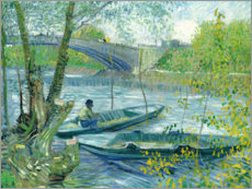 Lærredsbillede  Angler and boat at the Pont de Clichy - Vincent van Gogh