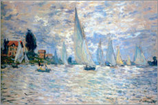 Print på træ  The Boats Regatta at Argenteuil - Claude Monet