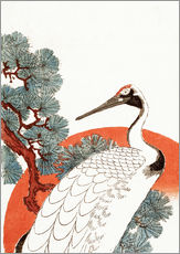 Selvklæbende plakat  First sunrise of the New Year, with a crane in a pine tree - Utagawa Hiroshige