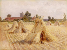Galleritryk  Corn Stooks by Bray Church - Hardy Heywood