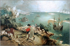 Selvklæbende plakat  Landscape with the Fall of Icarus - Pieter Brueghel d.Ä.