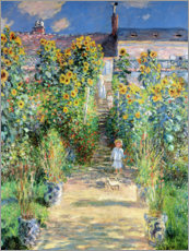 Print på træ  The Artist's Garden at Vétheuil - Claude Monet