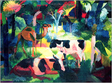 Galleritryk  Landscape with Cows and a Camel - August Macke