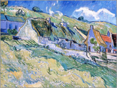 Selvklæbende plakat  Thatched cottages at Auvers-sur-Oise - Vincent van Gogh