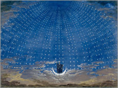 Selvklæbende plakat  The Hall of Stars in the Palace of the Queen of the Night - Karl Friedrich Schinkel