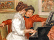 Selvklæbende plakat  Yvonne and Christine Lerolle at the piano - Pierre-Auguste Renoir