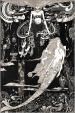 Print på træ  The Little Mermaid - Harry Clarke