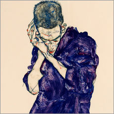 Galleritryk  Young Man In Purple Robe With Clasped Hands - Egon Schiele