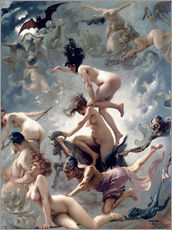 Selvklæbende plakat  Witches going to their Sabbath - Luis Ricardo Falero