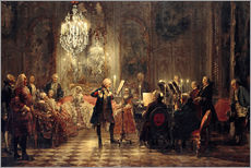 Selvklæbende plakat  Frederick the Great Playing the Flute at Sanssouci - Adolph von Menzel