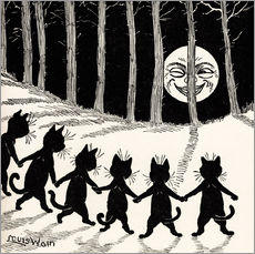 Selvklæbende plakat  Cats at full moon - Louis Wain