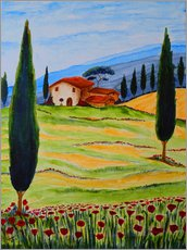 Galleritryk  Flowering Poppies of Tuscany 4 - Christine Huwer