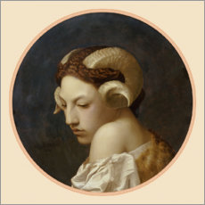 Lærredsbillede  Woman's head crowned with ram's horns - Jean Leon Gerome