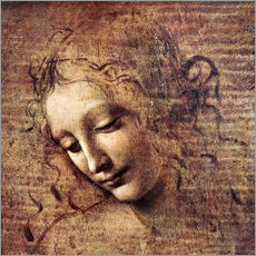 Galleritryk  Head of a Young Woman with Tousled Hair (La Scapigliata) - Leonardo da Vinci