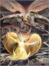 Selvklæbende plakat  The Great Red Dragon and the Woman Clothed with the Sun - William Blake