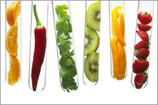 Galleritryk  Fruit and vegetables in test tubes