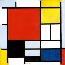 Selvklæbende plakat  Composition with Large Red Plane, Yellow, Black, Gray and Blue - Piet Mondriaan