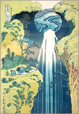 Selvklæbende plakat  The Amida Falls in the Far Reaches of the Kisokaido Road - Katsushika Hokusai