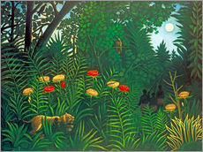 Galleritryk  Exotic Landscape with Tiger and Hunters - Henri Rousseau