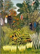 Selvklæbende plakat  Monkeys and Parrot in the Virgin Forest - Henri Rousseau