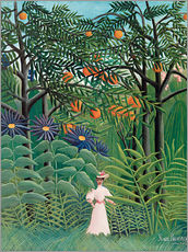 Galleritryk  Woman walking in an exotic forest - Henri Rousseau