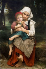 Selvklæbende plakat  Breton Brother and Sister - William Adolphe Bouguereau