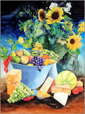 Selvklæbende plakat  Still life with sunflowers, fruits and cheese - Gerhard Kraus