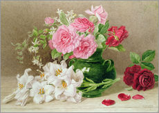 Selvklæbende plakat  Roses and lilies - Mary Elizabeth Duffield
