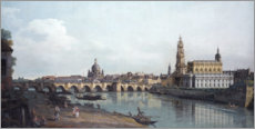 Akrylbillede  Dresden seen from the Right Bank of the Elbe, beneath the Augusts Bridge - Bernardo Bellotto (Canaletto)