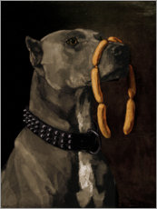 Lærredsbillede  Great Dane with sausages - Wilhelm Trübner