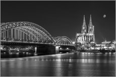 Galleritryk  Cologne Cathedral and Hohenzollern Bridge at night (b / w) - rclassen
