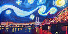 Galleritryk  Starry Night in Cologne - Van Gogh inspirations on Rhine with Cathedral and Hohenzollern Bridge - M. Bleichner