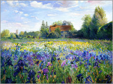 Selvklæbende plakat  Field of flowers in the sunset - Timothy Easton