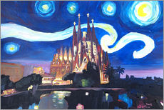 Selvklæbende plakat  Starry Night in Barcelona - M. Bleichner