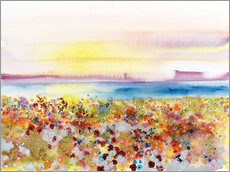 Selvklæbende plakat  Field Of Joy, Abstract Landscape Of Bejeweled Field Of Flowers - Tara Thelen