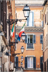 Selvklæbende plakat  Street in the centre of old town with italian flags, Rome, Italy - Matteo Colombo